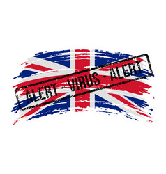 Uk torn flag with a stamp with words alert vector