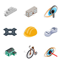 Urbanized icons set isometric style vector