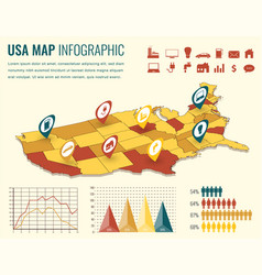 Usa map infographic template 3d isometric vector