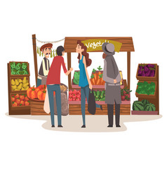 vegetable local farmer market with fresh natural vector image