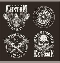 Vintage custom motorcycle labels vector