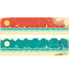 Vintage nature seascape banners vector image