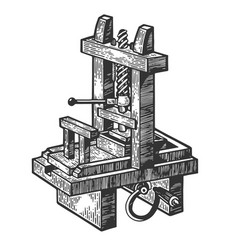 vintage printing press sketch engraving vector image