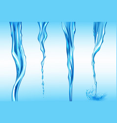 Water streams set isolated flow motion liquid vector