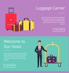 welcome to our hotel luggage carrier greeting vector image