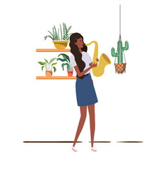 Woman with saxophone and houseplants on macrame vector