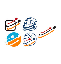 world computer cable set vector image