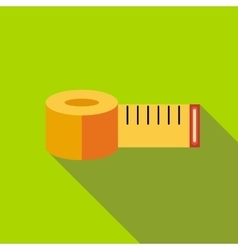 Yellow measuring tape icon flat style vector image