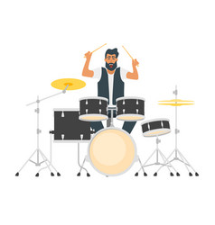 young bearded drum musician vector image
