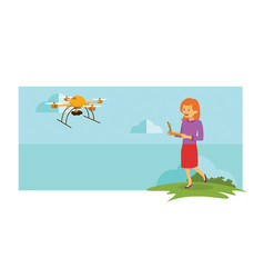 young girl playing drone outdoor vector image