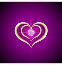 abstract bright purple background with golden vector image