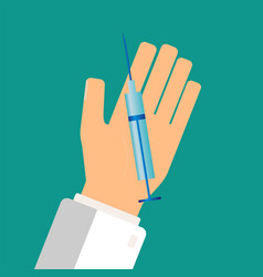 healthcare concept doctor hand holding syringe vector image