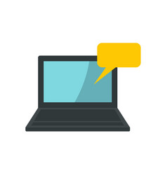 laptop and speech bubble icon flat style vector image