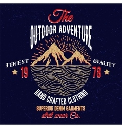 Mountain and sea adventure emblem vector image