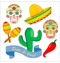 Painted skull in mexsican traditions vector image vector image