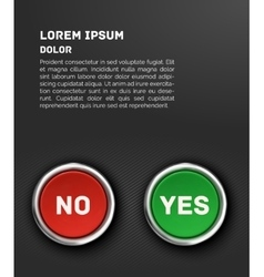 YES and NO buttons 3d red glossy metallic icons vector image