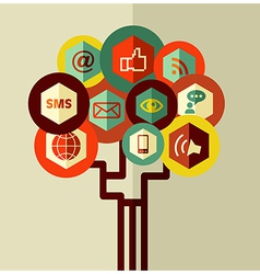 Abstract social network tree vector image vector image