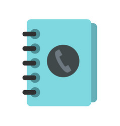 blue address book icon flat style vector image vector image