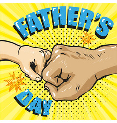 happy fathers day poster in retro comic style pop vector image vector image