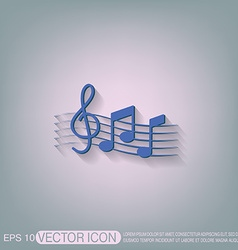Musical notes and treble clef vector image vector image