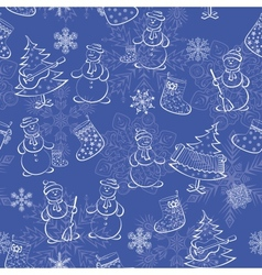 Seamless of Christmass silhouettes vector image