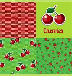 set seamless texture cherry vector image vector image