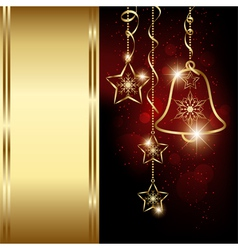 Sparkling Red Gold Christmas Bell Snowflakes vector image vector image