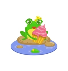 Cartoon Frog Character With Cupcake vector image vector image