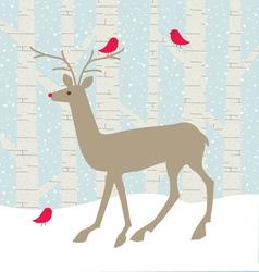deer and birds vector image