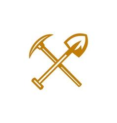 Pick axe shovel crossed retro vector
