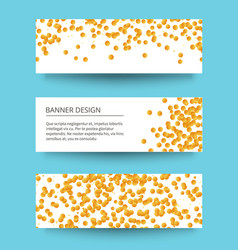 3 different golden confetti banners for web vector