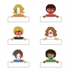 flag kids holding tags vector image vector image