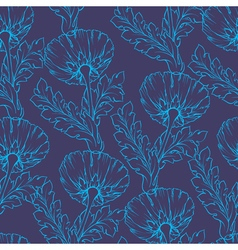 Garden flowers Seamless hand-painted outline vector image