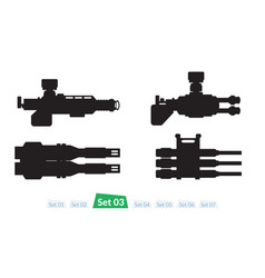 set of spaceship weapons silhouette three vector image vector image