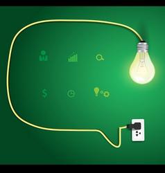 Speech bubble with light bulb idea concept vector image
