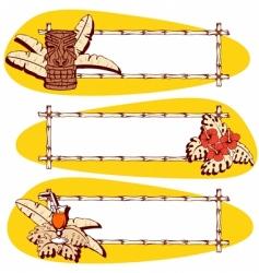 thre orange hawaiian banners vector image vector image