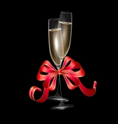 two glasses of champagne and red bow vector image vector image