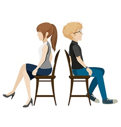 A boy and a girl sitting back to back vector