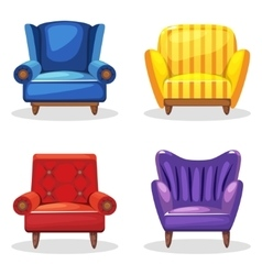 Armchair soft colorful homemade set 5 vector