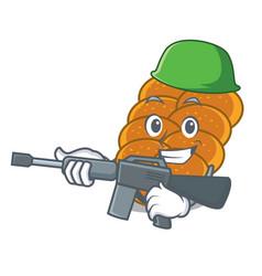 Army challah character cartoon style vector