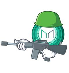 Army maker coin character cartoon vector