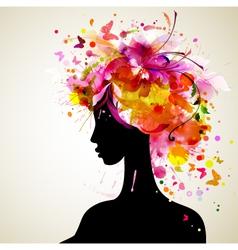 Artistic woman sillhouette design vector image