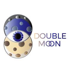 astrology logo double moon symbol trendy style vector image