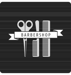 Barbershop logo scissors and two combs vector