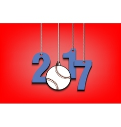 Baseballl and 2017 hanging on strings vector