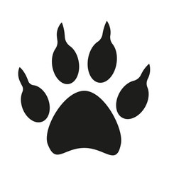 Black and white dog paw footprint silhouette vector