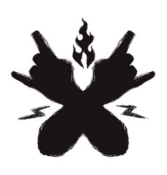 Black hands with rock symbol and sign around vector