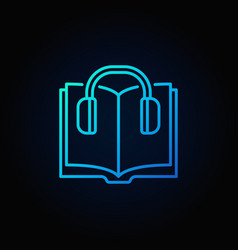 book with headphones colorful icon vector image