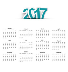 calendar for the year 2017 in flat style vector image