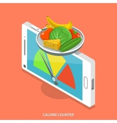 Calorie counter flat isometric concept vector image